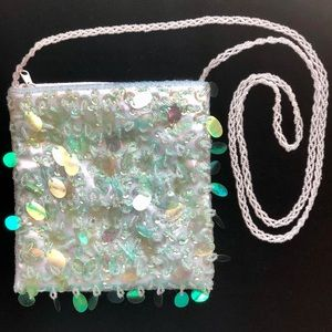 Paillettes Bag with Beaded Cross Body Strap